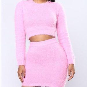 Fashion Nova We Can Cuddle Up Fuzzy Set Pink